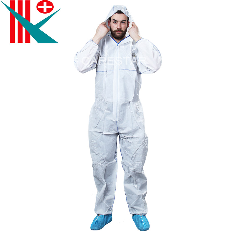 Type 5, 6 Disposable Coverall with Hood, White
