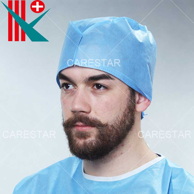 Disposable SMS Doctor Cap Tie-on, Made by Machine